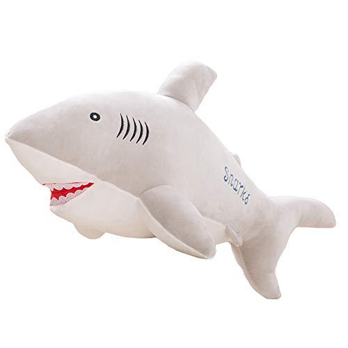 Homeofying 40/50 Cm Nette Simulierte Shark Fish Faux Plüschtier Weiche Gefüllte Puppe Kissen Kissen Nordic Faux Plüsch Stofftier Kissen Für Schlafsofa Büro Grau 50cm