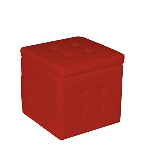 pouf contenitore rosso Esidra Pouf Contenitore in finta pelle