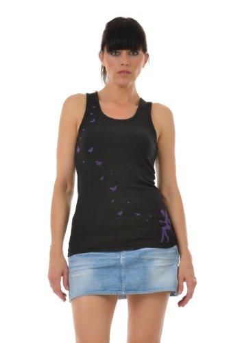 3Elfen Sommerkleidung Elfen Schmetterling Tanktop Shirt Damenoberteil Gothic schwarz lila S Tanktop