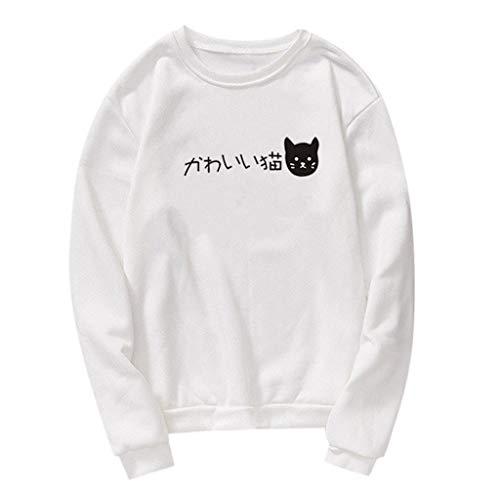 Amcool Neu Pullovers Pärchen Kapuzenpullover Hoodies Katze Drucken Langarm Paare Pulli Couple Matching Sweatshirts Casual Oberteil Tops Hemd