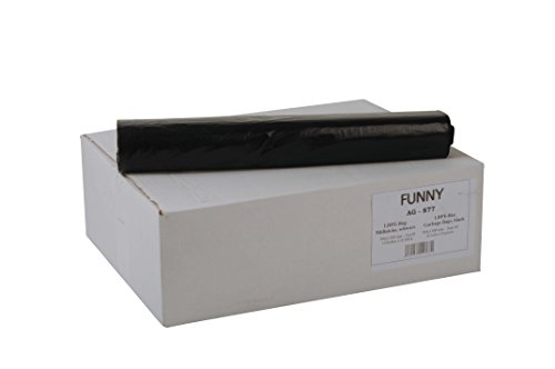 Funny AG-877 - Bolsas de basura de polietileno de baja densidad (PEBD, 100 l de capacidad, tipo 60, 1 rollo de 200 unidades), color negro