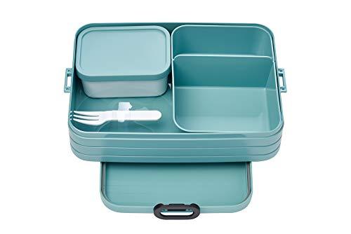 Mepal Bento-Lunchbox Take A Break Nordic Green Large – Brotdose mit Fächern, geeignet für bis zu 8 Butterbrote, TPE/pp/abs, 0 mm