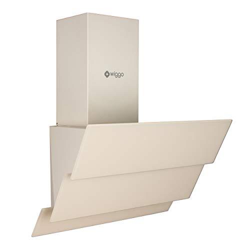 Wiggo Dunstabzugshaube 60cm kopffrei I Abluft Umluft Dunstabzug 300m³/h - LED Touch-Display 3 Stufen I Schräghaube inkl. Fettfilter & 2x...