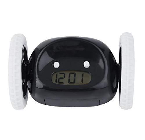 LucaSng LCD-Bildschirmanzeige Laufen Wecker Home Schlafzimmer Wohnzimmer RunawayClockyMoving Wheels Clock 13 * 8 cm