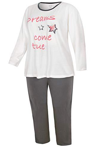 Damen Schlafanzug Pyjama Nachtwäsche in Plus Size Übergröße Plusgröße XL 2XL 3XL 4XL (48/50, Weiß)