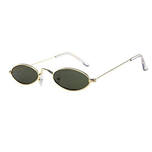 Lazzboy Herren Damen Retro Kleine Ovale Sonnenbrille Metallrahmen Shades Eyewear Unisex Reise Für Brillen Katzenauge Metall Rand Rahmen Frau Sonnebrille Gespiegelte Linse Sunglasses(G)