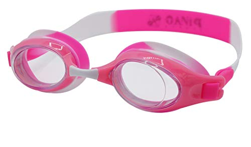 PiNAO Sports – Gafas de natación para niños [Natación, Natación, Natación, Entrenamiento y Baño] (rosa-blanco)
