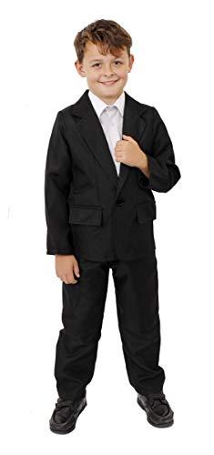 Déguisement d'agent secret pour enfant Noir 2 pièces avec veste et pantalon Parfait pour la science fictive, le cinéma et Halloween Taille S