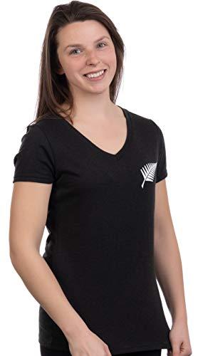Kiwi New Zealand Pride - Camiseta para Mujer, diseño de la Cruz del Sur del Helecho - Negro - Large