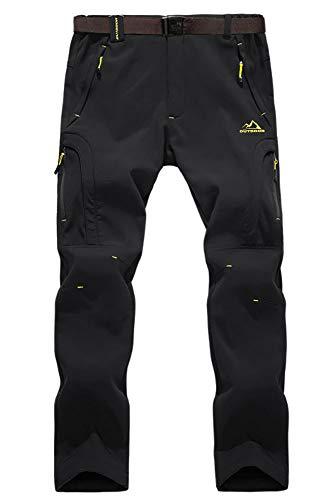 EKLENTSON Herren Gefüttert Wasser- und Winddicht Hose Softshellhose Outdoorhose Warm mit Reißverschlusstaschen Schwarz, 34