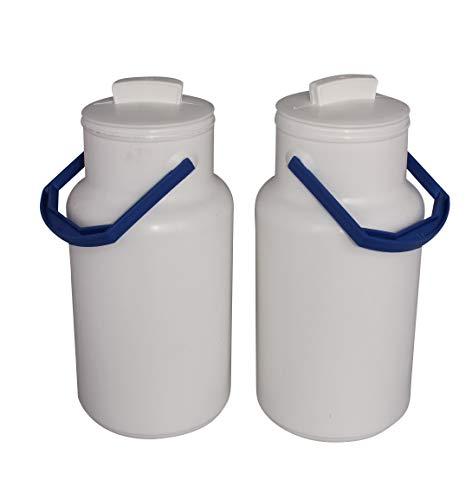 ARTECSIS 2er Set Michkanne Milchkrug Transportkanne 2,5L Kunststoff mit Tragegriff und Deckel