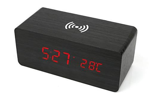deluxa Wecker Wireless Ladegerät Induktion Charger QI Handy Ladestation kabellos Uhr (Schwarz)