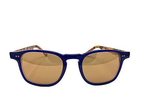 RossoT, Gafas de sol. Lentes de espejo, montura azul brillante y patillas color habana brillante. Con etiqueta descriptiva personalizable. Producto artesanal, Made in Italy (Lentes azules)