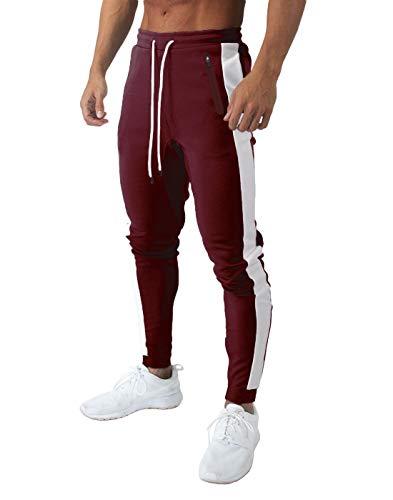 KEFITEVD Pantalones de deporte para hombre con rayas blancas de malla, transpirables, con bolsillos con cremallera, pantalones largos de entrenamiento básicos borgoña 40