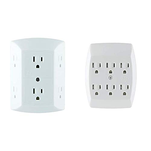 GE 6 Outlet Wall Plug Adapter Power Strip, Extra Wide Spaced Outlets for Cell Phone Charger, Power Adapter, 3 Prong & 6 Outlet Adapter, 3 Prong Outlets, Grounded, Wall Charger, Charging Station