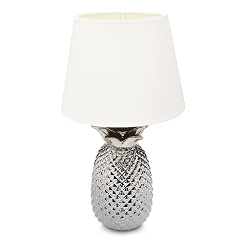 Navaris Tischlampe im Ananas Design - 40cm hoch - Deko Keramik Lampe für Nachttisch oder Beistelltisch - Dekolampe mit E27 Gewinde in Silber-Weiß