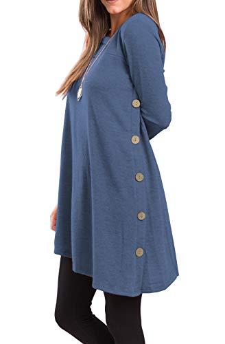 iGENJUN Women's Long Sleeve Scoop Neck Button Side Sweater Tunic Dress,XXL,Blue