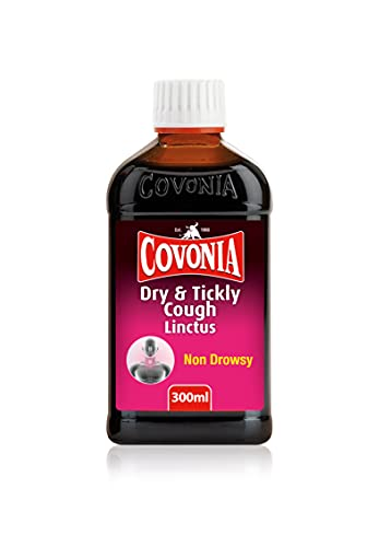 Covonia Dry and Tickly Cough Linctus Syrup, Sore Throat Relief, Non-Drowsy Formula – 300ml