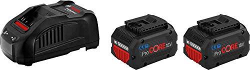 Bosch Professional 18V System ProCORE18V - Set baterías de litio + cargador (2 baterías ProCORE18V 5.5Ah + cargador GAL 1880 CV)