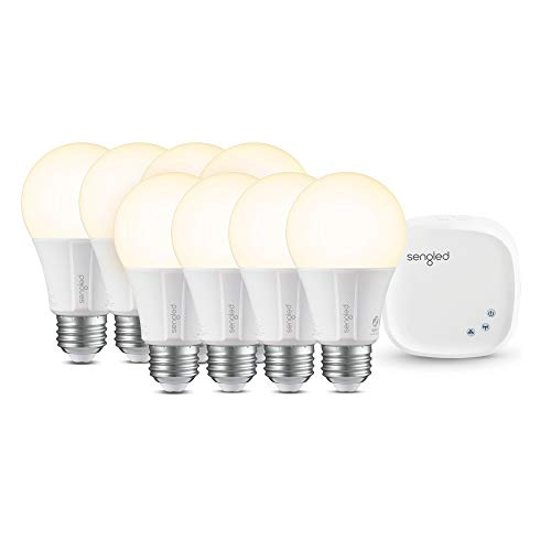 Sengled Smart LED Soft White A19 Starter Kit, 2700K 60W Equivalent, 8 Light Bulbs & Hub, Works with Alexa & Google Assistant