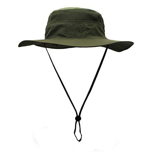 Croch Vert Armée Chapeau de Soleil Homme Femme Pliable Ete Anti UV Chapeau de Pêcheur pour Les Voyages, Randonnée, Camping, Pêche