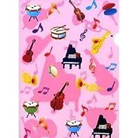 クリアーファイル 楽器 ピンク(1枚入)