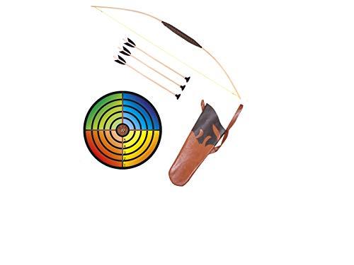 Holzspielerei Kinderbogen 80 cm + Zielscheibe bunt + Köcher + 3 Pfeile Saugnapf 40cm im Set (80 cm)