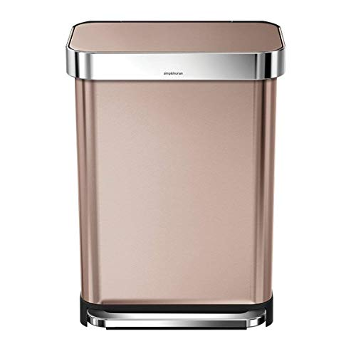 simplehuman 45 Liter Rectangular Hands-Free Kitchen Step Trash Can with Soft-Close Lid, Brushed, Rose Gold Stainless Steel