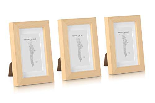 Classic by Casa Chic - Echtholz Bilderrahmen - Holz Natur- 3er Set - mit Passepartout - Rahmenbreite 2cm