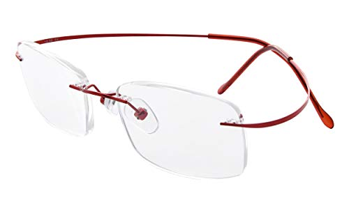 Eyekepper Glaant titanium leesbril voor dames en heren senza gradazione Larghezza Lenti 51mm-rosso
