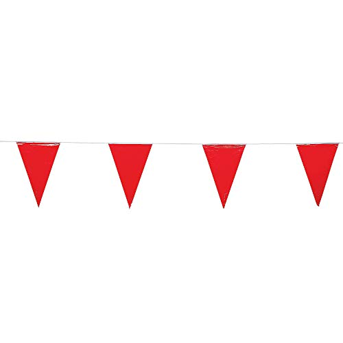 Fun Express - Red Pennant Banner (100ft) - Party Decor - Hanging Decor - Pennants - 1 Piece