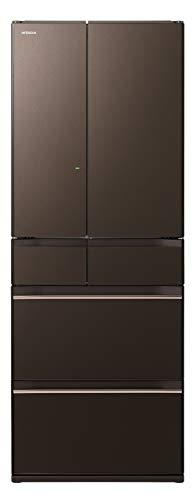 日立 冷蔵庫 602L 6ドア 強化ガラスドア 観音開き 日本製 幅68.5cm まるごとチルド R-HW60K XH グレイッシュブラウン