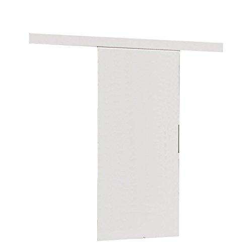 Mirjan24 Schiebetürsystem Multi Komplett-Set für Schiebetüren Trennwände Innentüren (Weiß, Modell 100, mit Selbstschließer)
