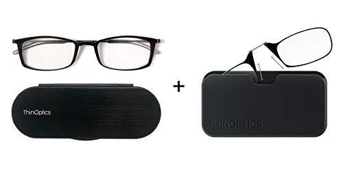 Set van 2 ThinOptics Leesbrillen - Zwarte Frames 1,5 Sterkte - Leesbrillen 1.5 Met Gevallen x2 Pack – Leesbrillen Voor Mannen en Vrouwen - Bevat 2 paar Leesbrillen +1.5