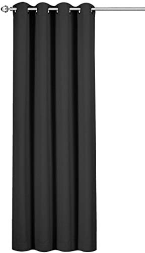 Utopia Bedding Blackout Room Darkening Curtains Drapes for Bedroom Grey - 1 Panel - 52 Inches Wide by 84 Inches Long - 8 Grommets/Rings per Panel - 1 Tie Back Included