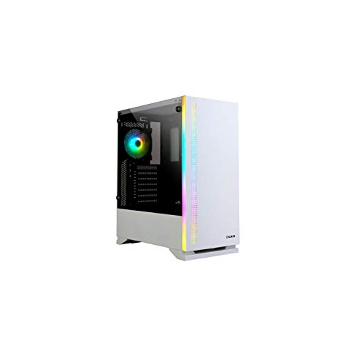 Zalman S5 White Mid Tower Gaming PC Case, Pre-Installed 120mm RGB Fan, 4mm Tempered Glass Side, AIO Water Cooler Bracket