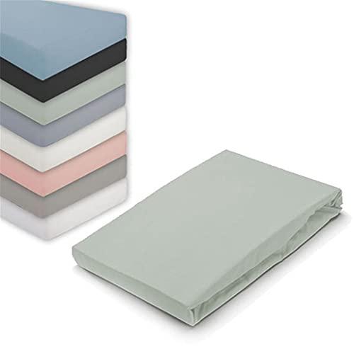 Byrklund Spannbettlaken 80x200, Jersey Spannbetttuch, Perfekte Matratzenpassform, Weiches Gefühl, Knitter- & Bügelfrei, 100% Baumwolle - Graugrün