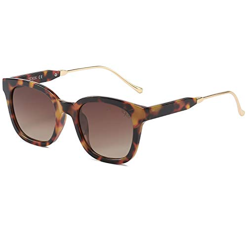 SOJOS Classic Square Polarized Sunglasses Unisex UV400 Mirrored Glasses SJ2050 with Tortoise Frame/Brown Lens