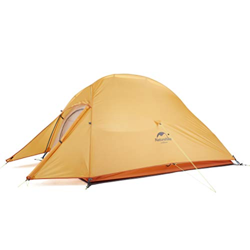 Naturehike Free Standing 2 Person Backpacking Tent Ultralight Doulbe Layer Camping Tents for Two Person (orange-210T Polyester)