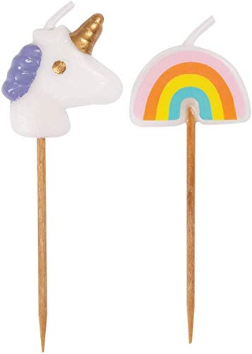 Unique Party 19988 - Unicorn & Rainbow Pick Birthday Candles, Pack of 6