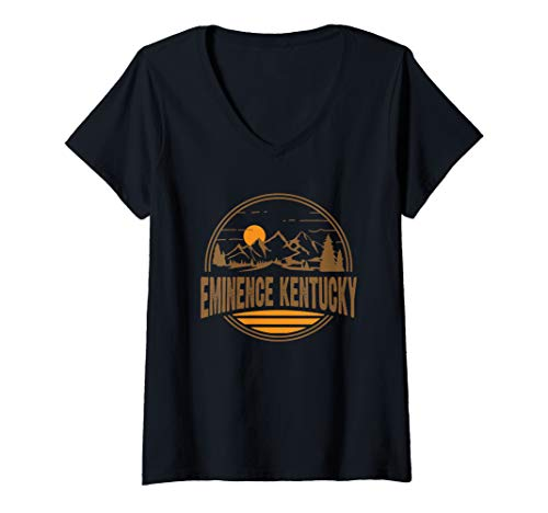 Womens Vintage Eminence, Kentucky Mountain Hiking Souvenir Print V-Neck T-Shirt
