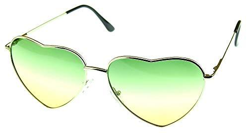 Lovelegis Gafas de sol corazón mujer - niña - niña - polarizadas - uv400 - montura plateada lentes verdes y amarillas