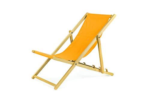 BAS Liegestuhl aus Holz klappbar Klappliegestuhl Strandstuhl Holzklappstuhl Sonnenstuhl Gartenliege Sonnenliege (2, Gelb)