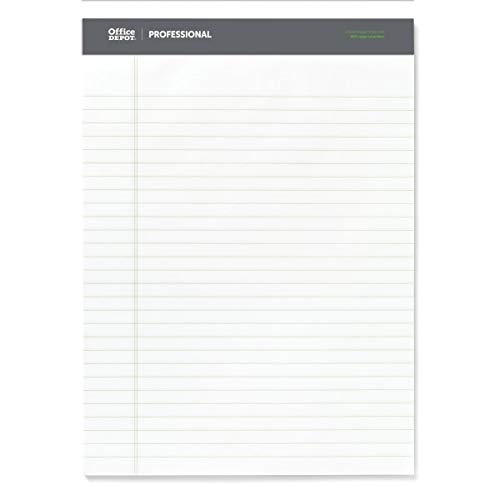 Office Depot Sugar Cane Paper Perforated Pads, 8 1/2in. x 11 3/4in, 50 Sheets, White, Pack Of 12 Pads, 95074
