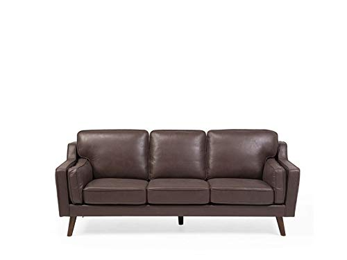 Beliani Zeitgenössisches Sofa in Braun Lederoptik Couch 3er Sitzer Lokka