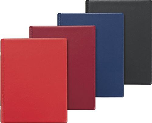 Brunnen 1065206 Ringbuch (A6 Sortiertpackung, 2 Ringe, Kunststoff-Einband in den Farben rot, weinrot, blau, schwarz, inkl. 50 Blatt, 1 Stück)