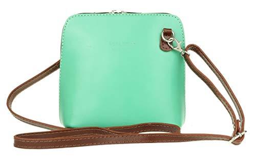 Girly Handbags , Damen Umhängetaschen, Grün - Mint Dark Tan - Größe: W 17, H 17, D 8 cm (W 6, H 6, D 3 inches)