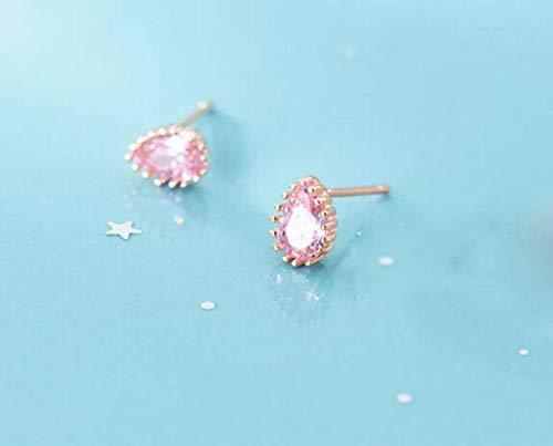TYERY S925 Uñas de Hongos Blancos, Estilo de Moda Coreano Femenino Gota Rosa Diamante Joyería Personalizada para el Oídorosa de oro, Plata 925