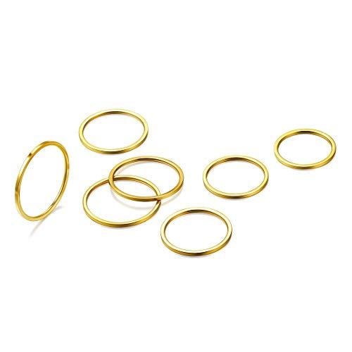 7 piezas Anillo Oro color Mujer, Acero inoxidable chapado en oro, Aro Anillo Minimalista Personalidad, Gratis caja de Regalo