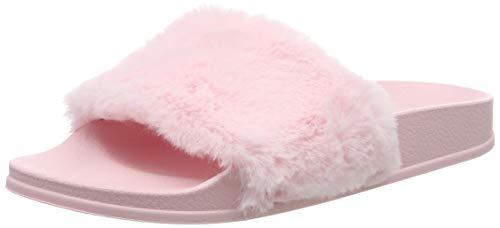 AioTio Pantofola di Pelliccia del Faux Flop delle Donne Fuzzy Fluffy Comfy Sliders Aprire la Punta Slip on(EU40 Rosa)
